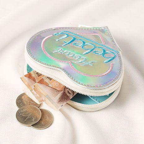 Fashion peach heart embroidery small purse laser outer case coin purse coin key storage bag earphone bag  NHBN237986's discount tags