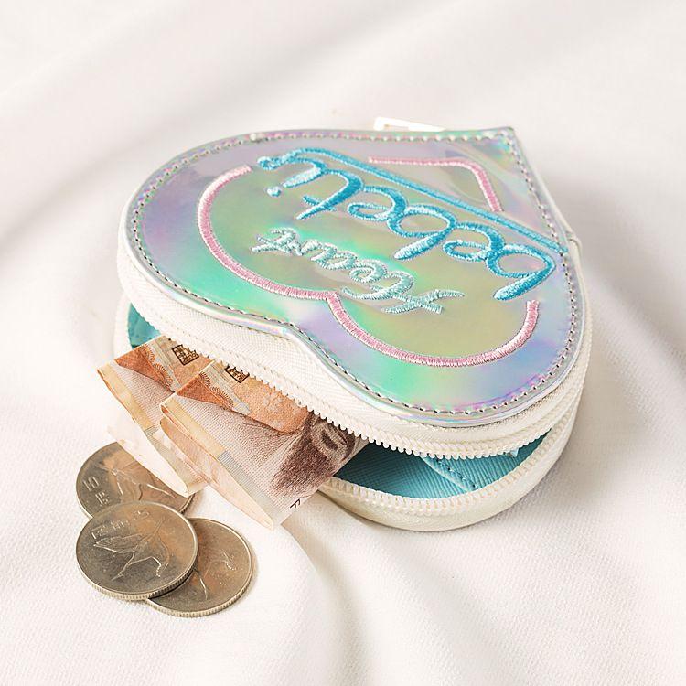 Fashion peach heart embroidery small purse laser outer case coin purse coin key storage bag earphone bag  NHBN237986