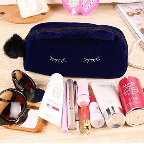 Korean cute cat large capacity cosmetic bag Korea cute clutch bag girl coin purse student storage bag for women NHBN237990's discount tags