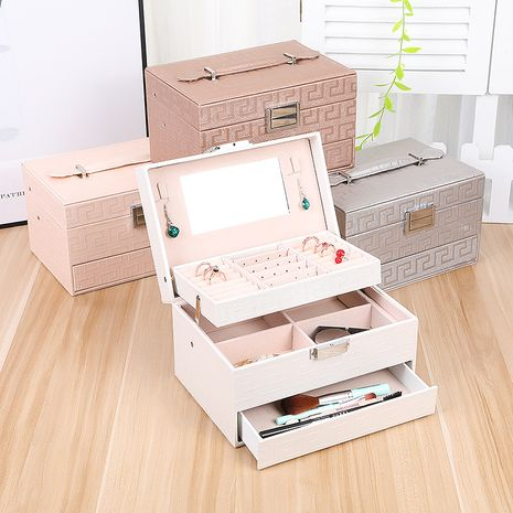 Three-layer automatic drawer fashion jewelry box Korean jewelry storage box necklace earrings ring box simple storage box NHHO237994's discount tags
