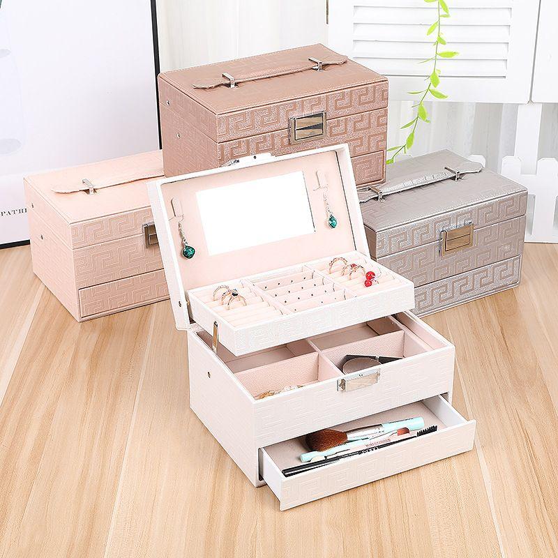 Threelayer automatic drawer fashion jewelry box Korean jewelry storage box necklace earrings ring box simple storage box NHHO237994