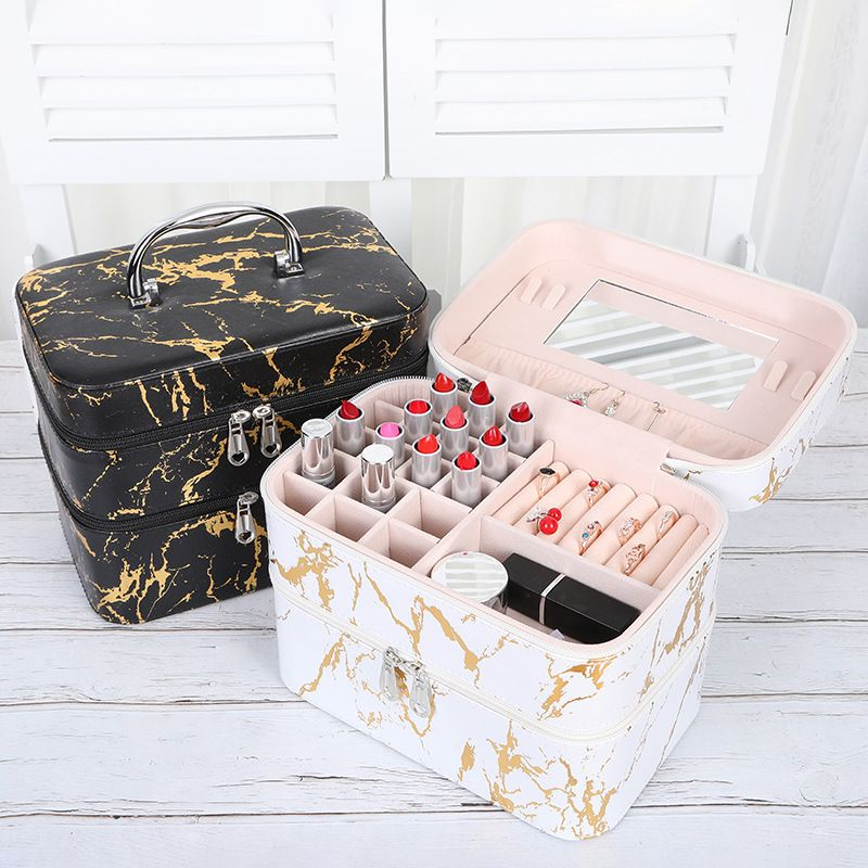 Fashion New Multifunctional Portable Cosmetic Case Makeup Beauty Manicure Toolbox Jewelry Ring Earring Storage Box NHHO237995