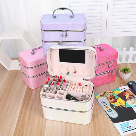 New Korean multifunctional portable cosmetic case makeup tool box jewelry ring earring storage box nihaojewelry NHHO237996's discount tags