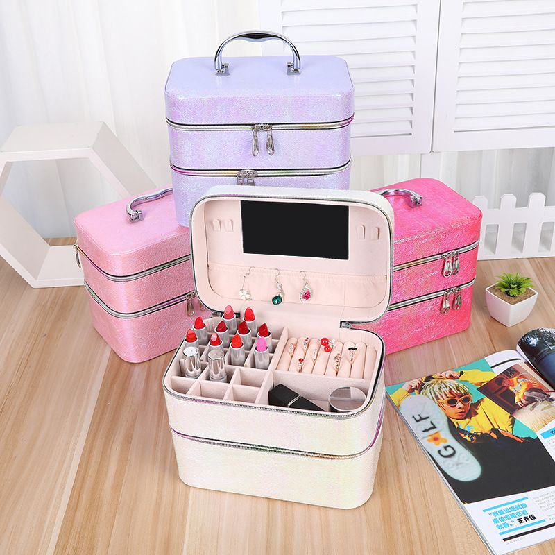 New Korean multifunctional portable cosmetic case makeup tool box jewelry ring earring storage box nihaojewelry NHHO237996