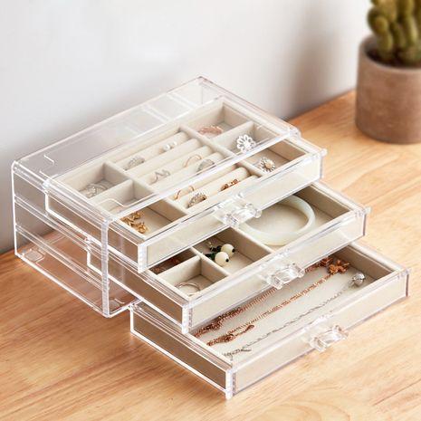 Three-layer three-pumping flannel bottom fashion jewelry storage box lattice acrylic jewelry storage box jewelry box desktop finishing box NHHO237997's discount tags