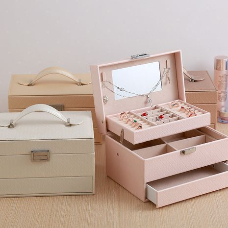 Three-layer automatic drawer jewelry box fashion jewelry storage box Korean watch necklace earrings ring box simple storage box NHHO237998's discount tags