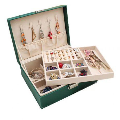 Moda nueva armadura de cuero de bajo precio caja de almacenamiento de caja de anillo de doble capa pendiente caja de almacenamiento de joyería nihaojewelry NHHW238002's discount tags