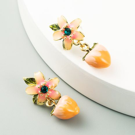 Peach earrings new Korean fruit earrings sweet and cute peach S925 flower earrings NHLN238006's discount tags