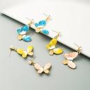 S925 silver needle earrings Korean alloy drop oil inlaid pearl butterfly earrings for girl fashion heart earrings NHLN238010