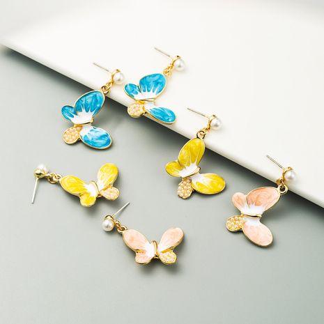 S925 silver needle earrings Korean alloy drop oil inlaid pearl butterfly earrings for girl fashion heart earrings NHLN238010's discount tags