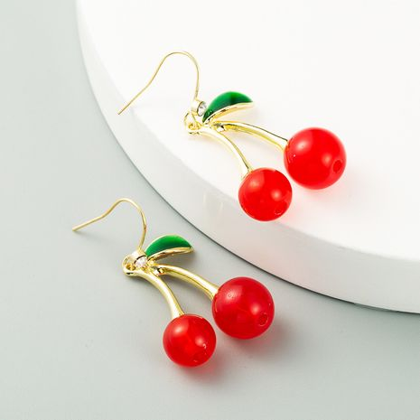 Korean cherry-shaped fruit earrings for women long style cute earrings simple red fruit earrings wholesale earrings NHLN238011's discount tags