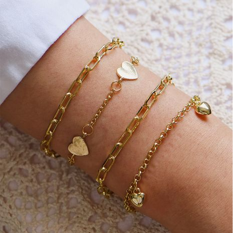 New style ladies multi-layer bracelet fashion street style love gold-plated DIY bracelet wholesale nihaojewelry NHOT238028's discount tags