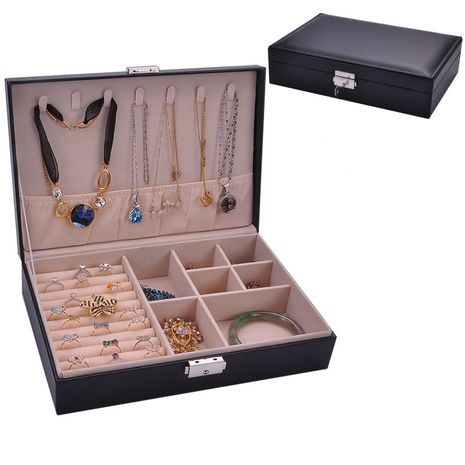 New fashion leather single-layer rectangular jewelry storage box necklace earrings ring storage and storage jewelry box NHHW238001's discount tags