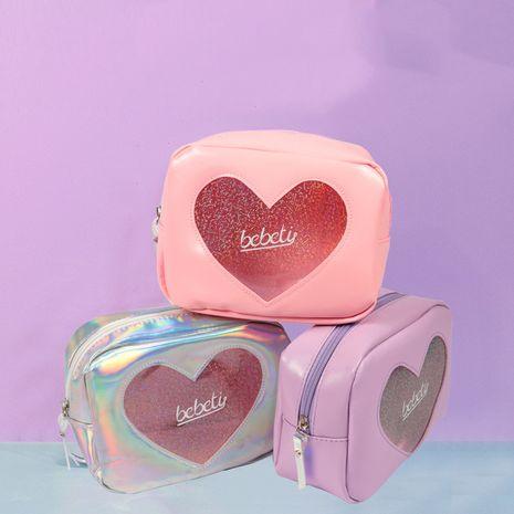 Moda coreana láser láser transparente amor bolsa de cosméticos corazón niña gran capacidad de almacenamiento de viaje bolsa linda nihaojewelry NHBN237965's discount tags