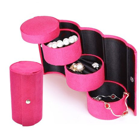 flannel deerskin velvet high-end storage boxes wholesale gifts multicolored three-layer cylindrical jewelry box NHHW238026's discount tags