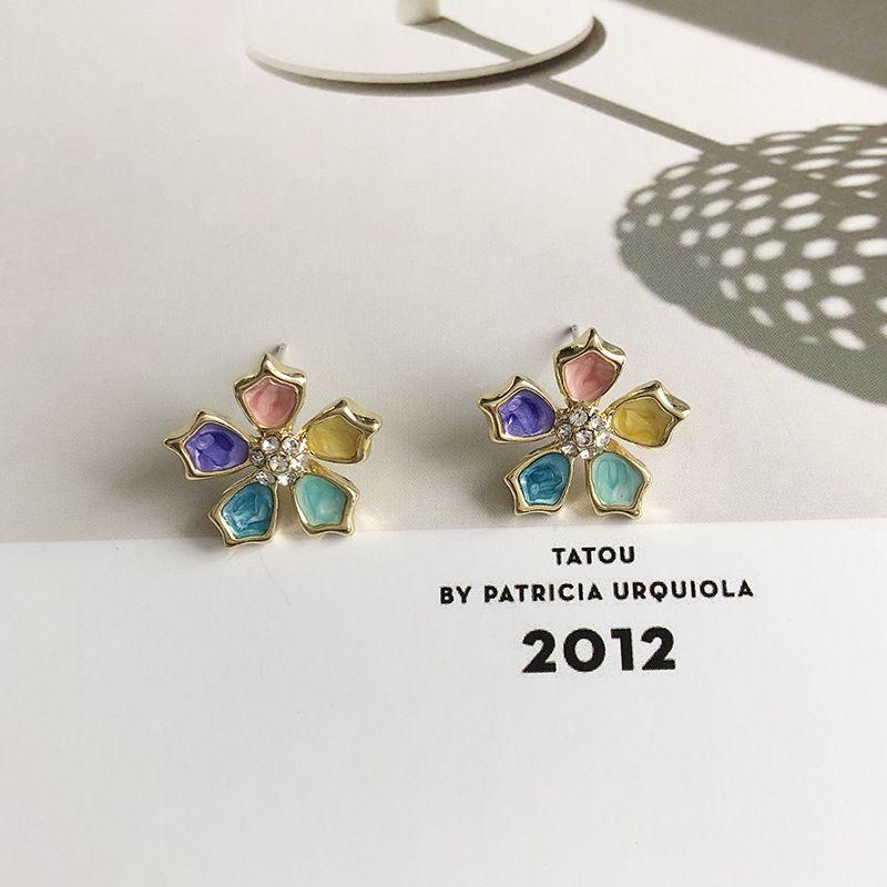 Korea's new jewelry multicolored flower earrings for women dripping glaze petal earrings hot sale wholesale nihaojewelry NHWF238052