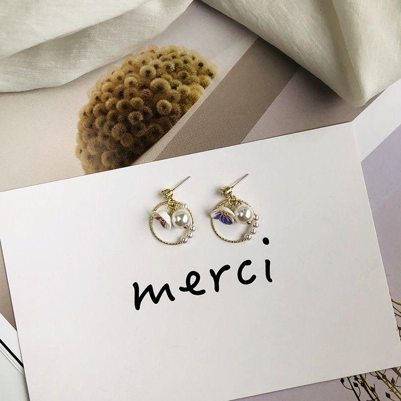 Korean fashion jewelry geometric circle pearl flower earrings for women sweet earrings alloy earrings wholesale nihaojewelry NHWF238056