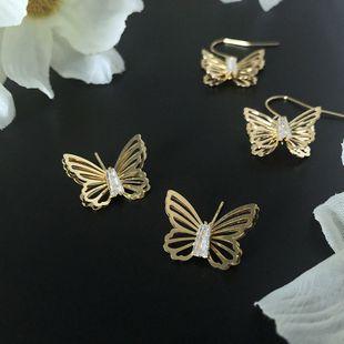 Korean fashion jewelry hot sale hollow butterfly earrings for women simple and exquisite zircon ear hook earring nihaojewelry NHWF238062's discount tags