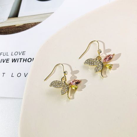 New asymmetric butterfly earrings Korean fashion jewelry diamond rhinestone ear hook earrings for women wholesale nihaojewelry NHWF238071's discount tags