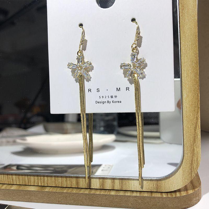 New flower Korean hot sale long tassel earrings alloy ear accessories wholesale nihaojewelry NHWF238073