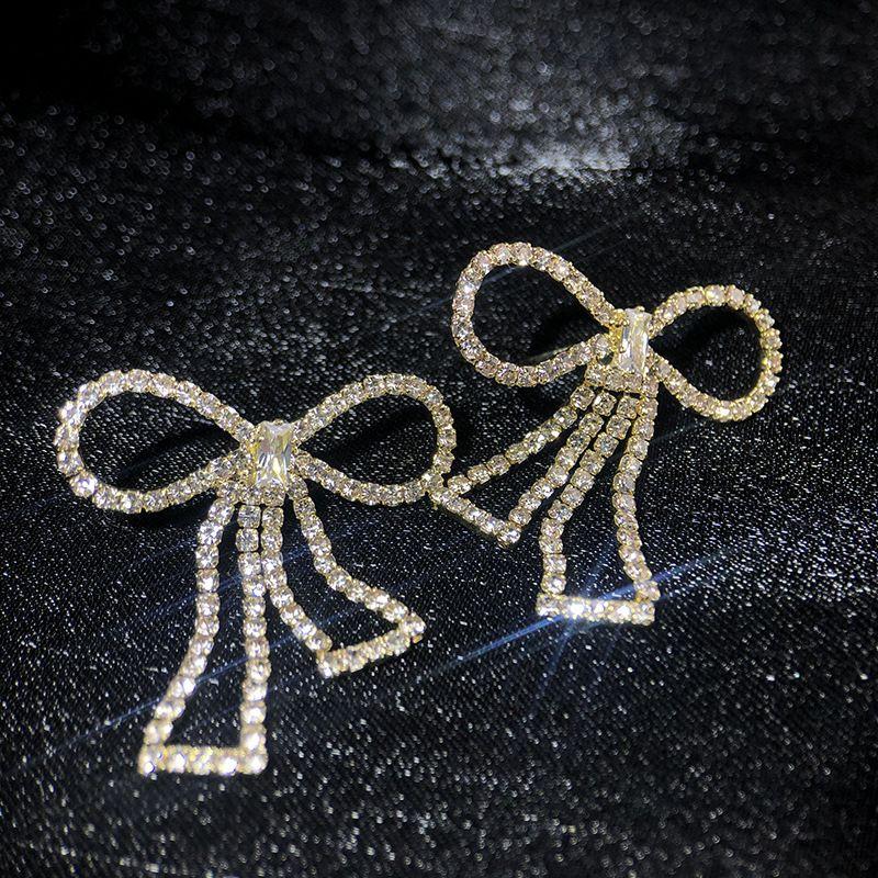 new bow earrings Korean popular jewelry full diamond earrings wholesale nihaojewelry NHWF238074