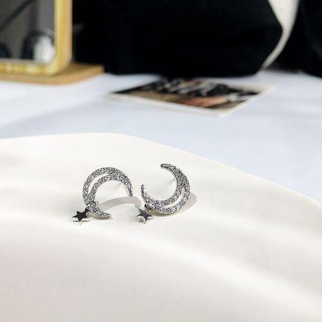 Korean fashion ear accessories star and moon earrings 925 silver needle full diamond star moon ear clip earrings for women nihaojewelry NHWF238078's discount tags
