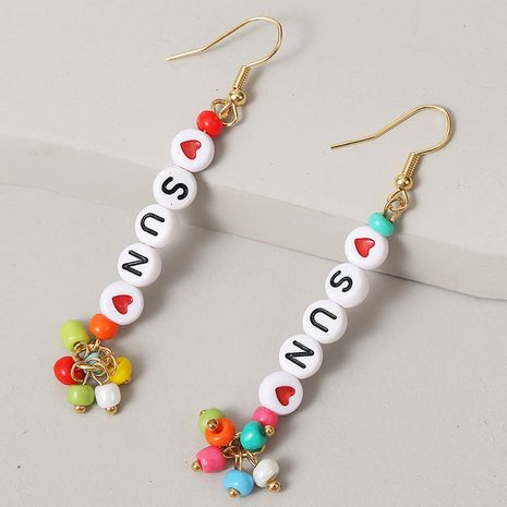 long letter SUN rice bead earrings for women earrings trend hand-woven earrings NHLA238085's discount tags