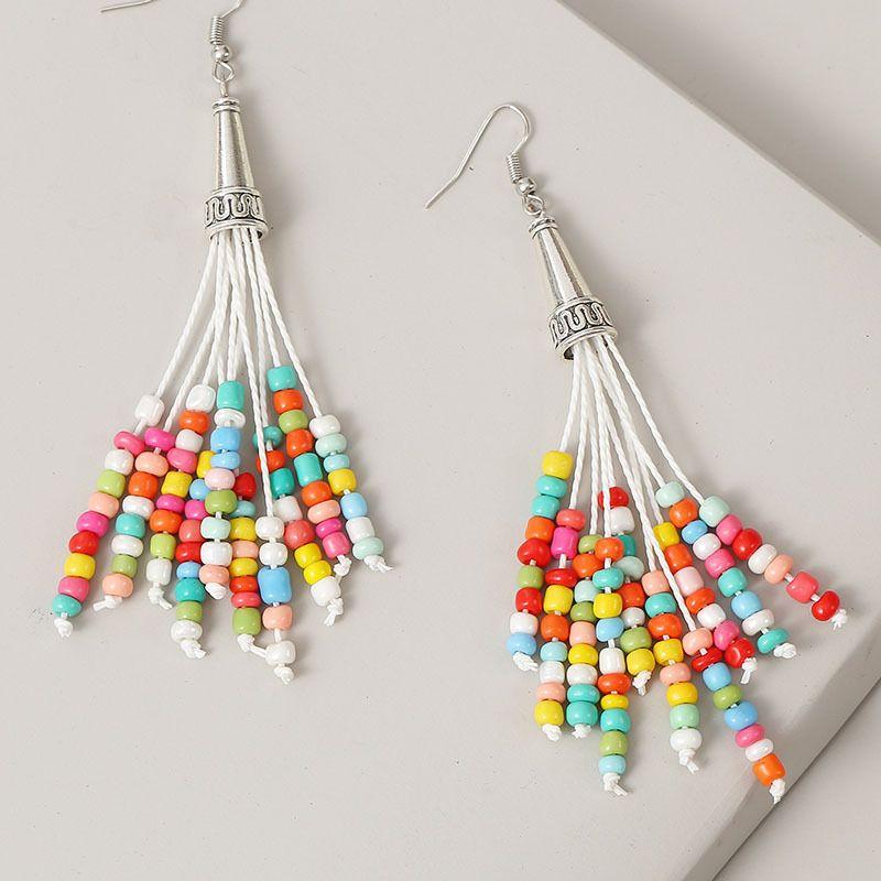 beads long color woven tassel earrings for women trend handmade beaded earrings jewelry NHLA238086
