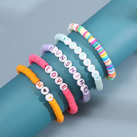 Fashion hot sale rainbow soft ceramic letter beads bracelet handmade fashion trendy vacation beach style bracelet nihaojewelry NHLL238089's discount tags
