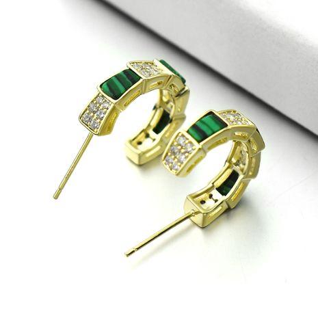 New snake-shaped malachite green earrings diamond hypoallergenic 925 silver needle earrings wholesale nihaojewelry NHLJ238091's discount tags