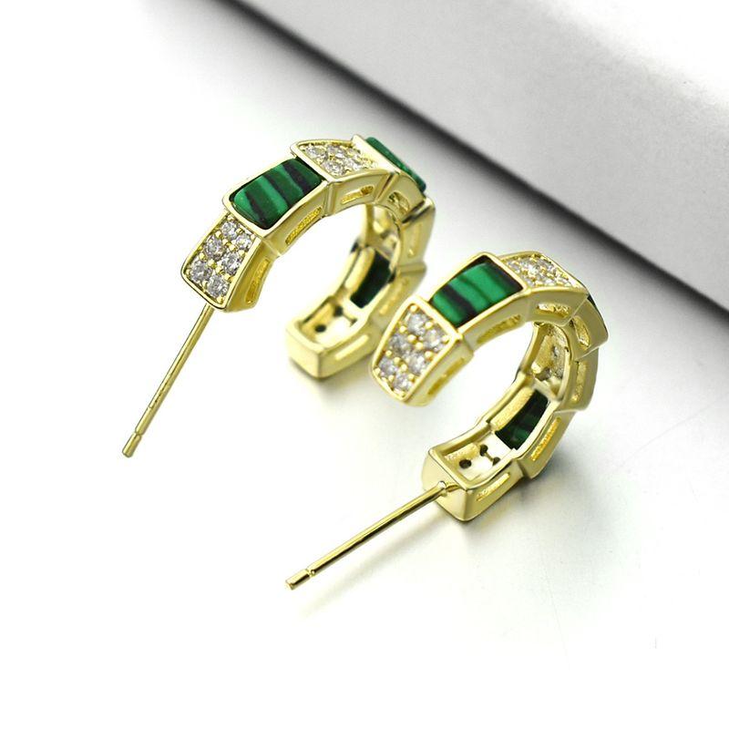 New snake-shaped malachite green earrings diamond hypoallergenic 925 silver needle earrings wholesale nihaojewelry NHLJ238091