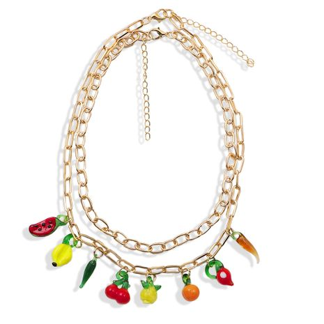 creative fashion multi-layer fruit pendant watermelon cherry pear simple and lovely natural chain wholesale nihaojewelry NHJQ238099's discount tags