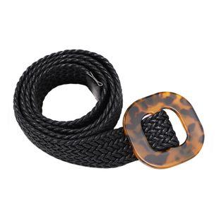 Fashion hand-woven dark brown leopard resin belt autumn holiday wind wild street beat waist chain wholesale nihaojewelry NHJQ238101's discount tags