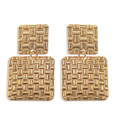 texture square metal maze pattern earrings bumpy punk simple geometric earrings wholesale nihaojewelry NHJQ238103's discount tags