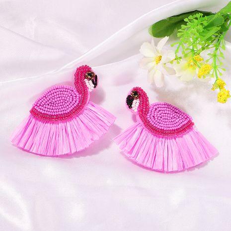 fashion rice beads swan raffia fringed earrings handmade beads cute earrings wholesale nihaojewelry NHJQ238104's discount tags