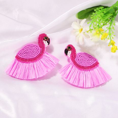 fashion rice beads swan raffia fringed earrings handmade beads cute earrings wholesale nihaojewelry NHJQ238104's discount tags