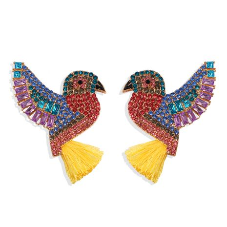 creative color diamond bird tassel earrings multicolor acrylic diamond parrot earrings wholesale nihaojewelry NHJQ238108's discount tags