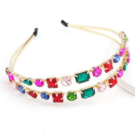 hot-selling colored glass diamond double-layer hair band bundle hair headband super flashing wholesale nihaojewelry NHJE238111's discount tags