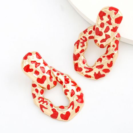 Fashion design sense alloy drip oil leopard print spots exaggerated earrings retro bohemian earrings wholesale nihaojewelry NHJE238115's discount tags