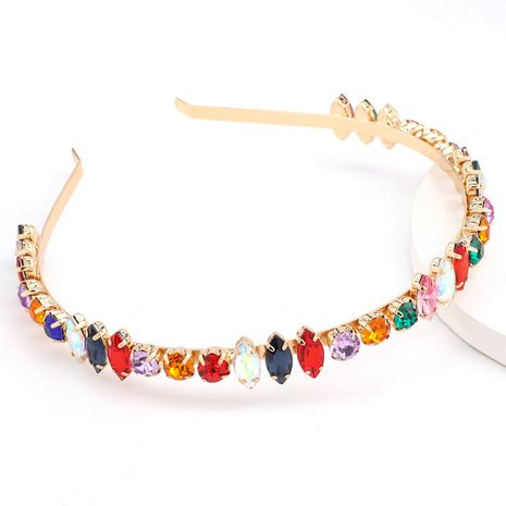 new style alloy diamond-studded glass colored headband hair jewelry wholesale nihaojewelry NHJE238116's discount tags