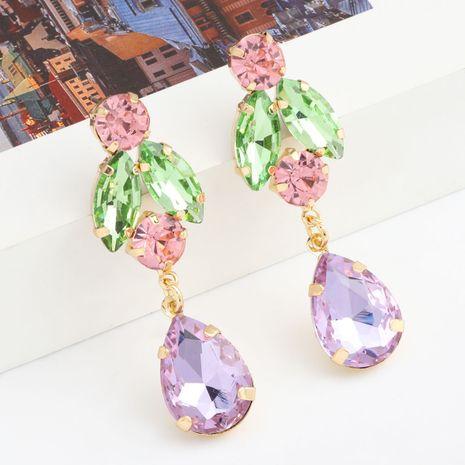 Serie de color de moda de múltiples capas de diamantes de aleación súper flash pendientes de vidrio en forma de gota al por mayor nihaojewelry NHJE238122's discount tags
