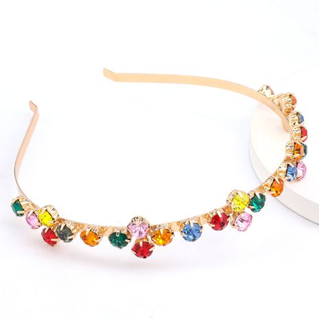 Fashionable alloy diamond-studded rhinestone colored super flash hair band headband hot sale wholesale nihaojewelry NHJE238123's discount tags
