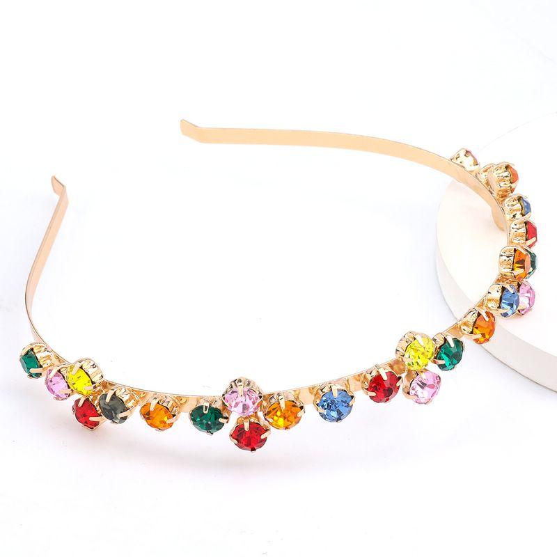 Fashionable alloy diamond-studded rhinestone colored super flash hair band headband hot sale wholesale nihaojewelry NHJE238123