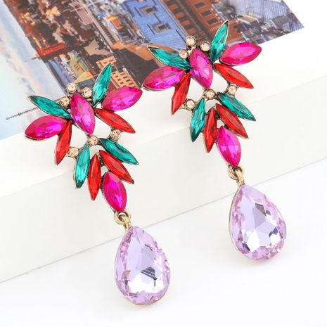 Fashion Color Diamond Series Multilayer Alloy Diamond Rhinestone Flower Drop Shaped Earrings wholesale nihaojewelry NHJE238125's discount tags