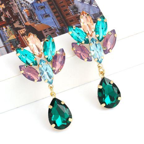 Boucle d'oreille en verre en forme de goutte en forme de goutte en alliage multicouche de série de diamants de couleur de la mode en gros nihaojewelry NHJE238136's discount tags
