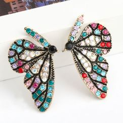 Fashion color diamond series creative Korean alloy diamond rhinestone butterfly earrings wholesale nihaojewelry NHJE238139
