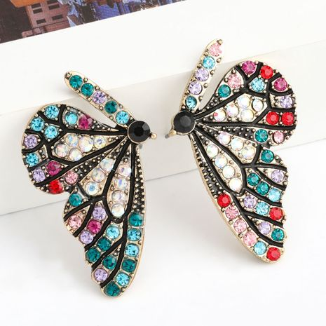 Fashion color diamond series creative Korean alloy diamond rhinestone butterfly earrings wholesale nihaojewelry NHJE238139's discount tags