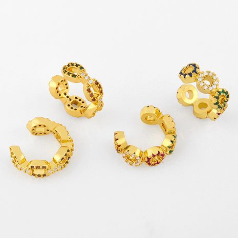New inlaid zircon ear bone clip fashion earrings simple c-shaped geometric non-pierced ear clip  NHAS238141's discount tags