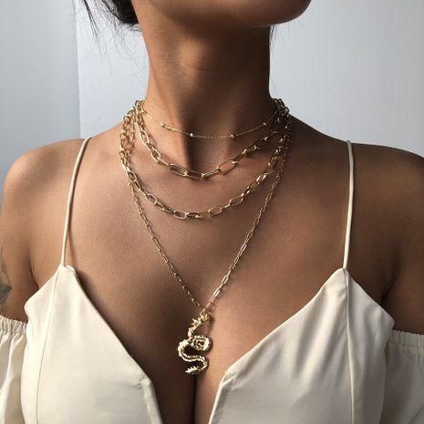 collier en forme de serpent tendance rétro géométrique multicouche simple bijoux en gros nihaojewelry NHMD238147's discount tags