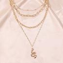 joyera de collar en forma de serpiente de tendencia retro geomtrica multicapa simple al por mayor nihaojewelry NHMD238147